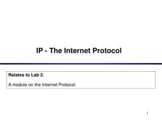 IP - The Internet Protocol
