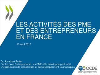 Les activités des PME et des entrepreneurs en  France