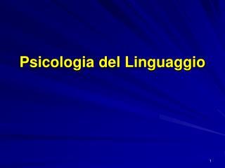 Psicologia del Linguaggio