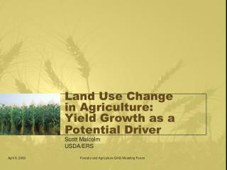 Land Use Change in Agriculture:  Yield Growth as a Potential Driver