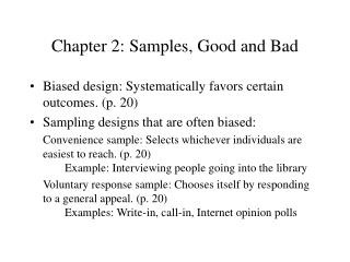 Chapter 2: Samples, Good and Bad