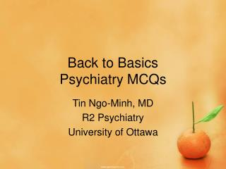 Back to Basics Psychiatry MCQs