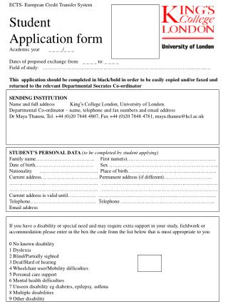 ECTS- European Credit Transfer System Student Application form Academic year       _ _ _ _/_ _ _