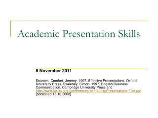Academic Presentation Skills