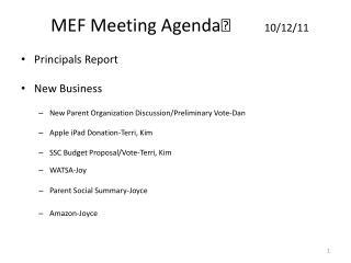 MEF Meeting Agenda 10/12/11