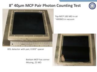 "8""  40µm  MCP  Pair  Photon Counting Test"