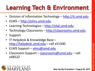 Learning Tech & Environment