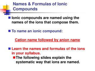 Names & Formulas of Ionic Compounds