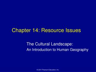 Chapter 14: Resource Issues