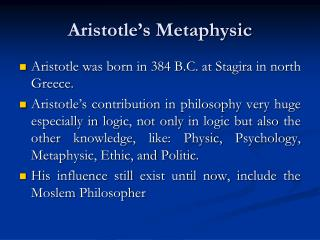 Aristotle�s Metaphysic