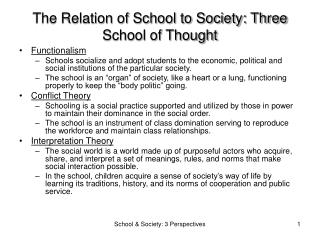 The Relation of School to Society: Three School of Thought