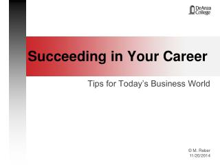 Succeeding in Your Career