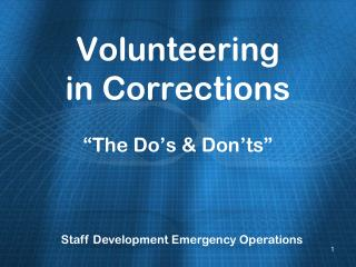 Volunteering in Corrections