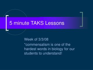 5 minute TAKS Lessons