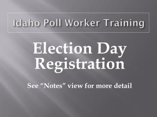 Idaho Poll Worker Training