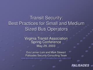 Transit Security:   Best Practices for Small and Medium Sized Bus Operators
