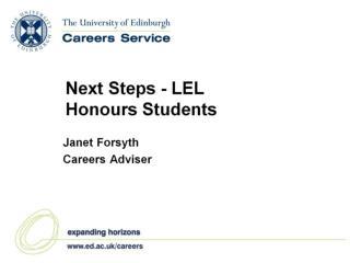 Next Steps - LEL Honours Students