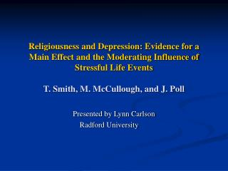 Presented by Lynn Carlson Radford University