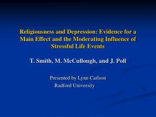 Presented by Lynn Carlson Radford University