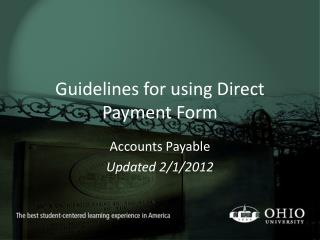 Guidelines for using Direct Payment Form
