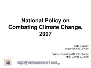 National Policy on Combating Climate Change, 2007