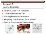 Section 9.2   Inverse Functions