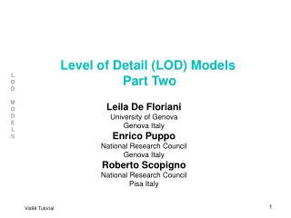 Level of Detail (LOD) Models  Part Two
