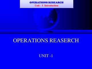 OPERATIONS REASERCH