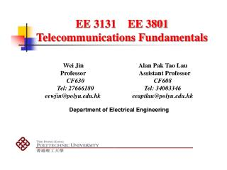 EE 3131    EE 3801 Telecommunications Fundamentals