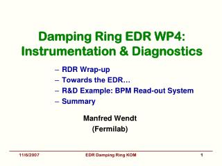 Damping Ring EDR WP4: Instrumentation & Diagnostics