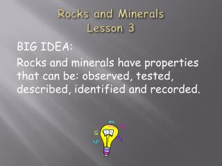 Rocks and Minerals Lesson 3