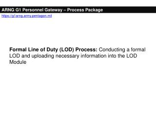 ARNG G1 Personnel Gateway – Process Package