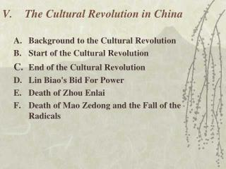 V.	The Cultural Revolution in China