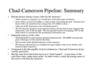 Chad-Cameroon Pipeline: Summary
