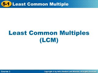 Least Common Multiples (LCM)