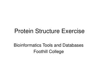 Protein Structure Exercise