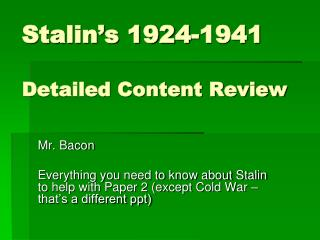 Stalin's 1924-1941 Detailed Content Review