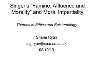 "Singer's ""Famine, Affluence and Morality"" and  Moral Impartiality"