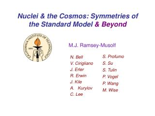 Nuclei & the Cosmos: Symmetries of the Standard Model  & Beyond