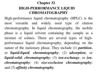 Chapter 32	 HIGH-PERRORMANCE LIQUID CHROMATOGRAPHY