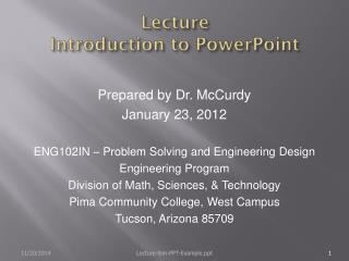 Lecture Introduction to PowerPoint