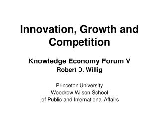 Innovation, Growth and Competition