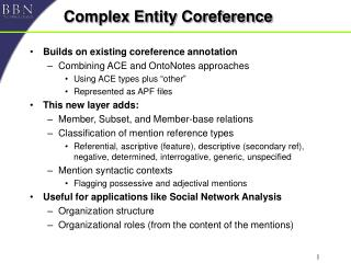 Complex Entity Coreference