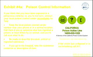 Exhibit #4a:   Poison Control Information