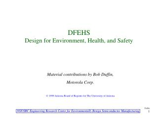 DFEHS Design for Environment, Health, and Safety