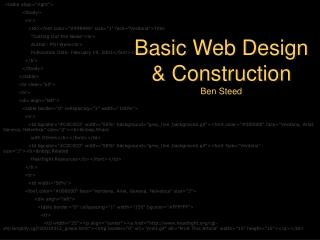 Basic Web Design & Construction Ben Steed