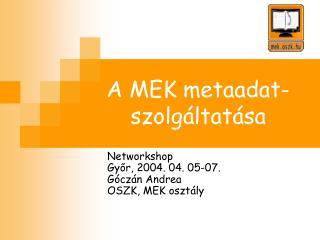 A MEK metaadat-szolgáltatása