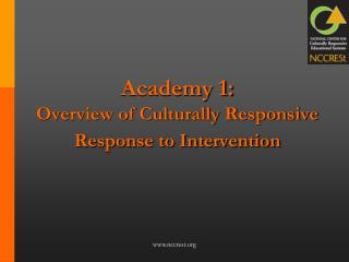 Academy 1:  Overview of Culturally Responsive Response to Intervention