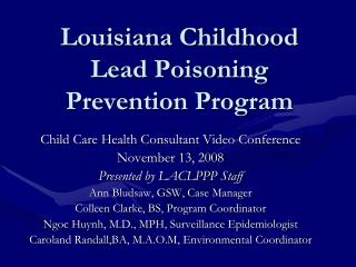 Louisiana Childhood Lead Poisoning Prevention Program