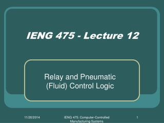 IENG 475 - Lecture 12